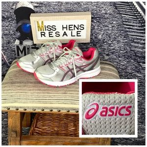 WOMENS ASICS WHITE GRAY HOT PINK ATHLETIC TRAINERS